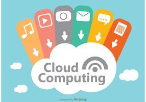 Vector de design de conceito de computação em nuvem