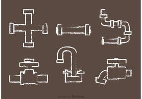 Chalk Drawn Pipe Vectors