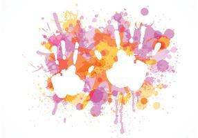 Free Child Handprint On Colorful Splashes Vector