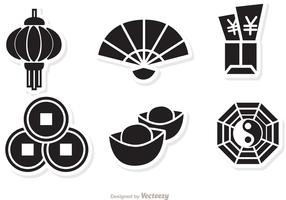 Lunar New Year Black Icons vector