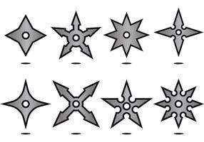 SILVER NINJA THROWING STAR ICON VECTORS