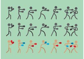 Boxer Sitck Figure Icon Vectors
