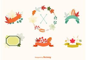 Autumn Flora Label Vectors