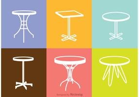 White Table Icons Vector