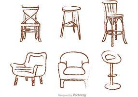 Chalk Drawn Chair Vectores
