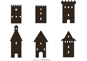 Silhouette Fort Icons Vector
