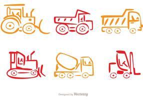 Colorful Line Dump Trucks Vector