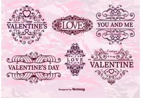 Vetores do quadro retro do Valentine