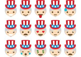 Uncle Sam Vector Emoticons