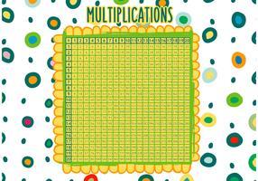 Hand Drawn Multiplication Math Table Vector