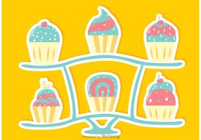 Sweets Cupcake Stand Vector