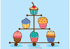 Various Cupcake Stand Vector