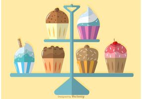 Delicious Cupcake Stand Vector