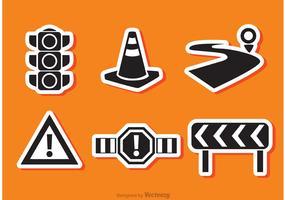 Road Traffic Black Icon Vectors