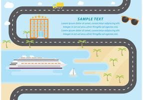 Cruise Liner And Beach Vector