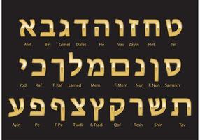 Gold Hebrew Alphabet Vector