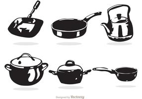 Black And White Cooking Pan Vectors