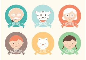 Free Flat Family Vector Icon Set