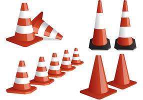 Striped Orange Cone Vectors