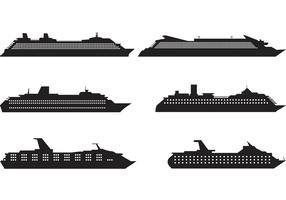 Cruise Liner Silhouette Vectors