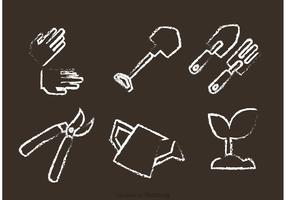 Chalk Drawn Gardening Vectors
