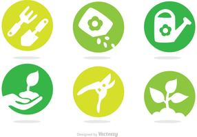 Gardening Circle Vector Icons