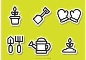 Gardening Outline Sticker Vectors