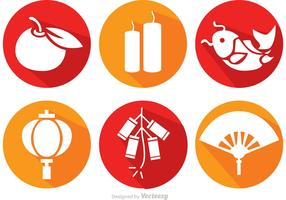Long Shadow Chinese Lunar New Year Icons Vector