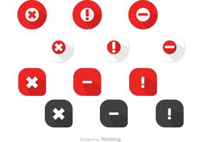 Simple Red Circle Cancelled Icons Vector Pack