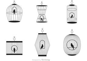 Black Vintage Bird Cage Vector