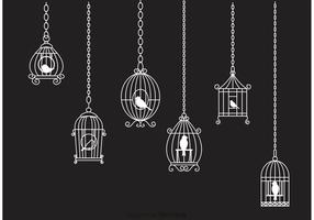 Hanging White Vintage Bird Cage Chain Vector