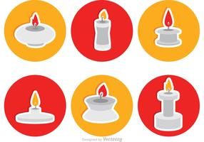 Silver Candlesticks Flat Icons Vector
