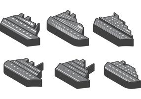 3D Cruise Liner Icon Vectors