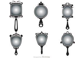 Black Vintage Hand Mirror Vectors
