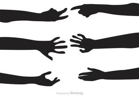 Silhouette Hand Reaching Vectors