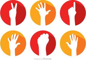 Hand Reaching Long Shadow Icons Vectors