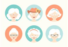 Free Funny Grandma Avatar Vector Set