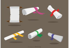 Scrolled Paper With Ribbon Vectors