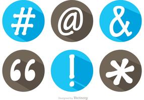 Hashtag Sosial Media Symbol Long Shadow Icons Vector