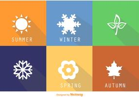Flat Square Seasonal Vector Icons