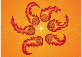 Curved Basketball on Fire Vectors