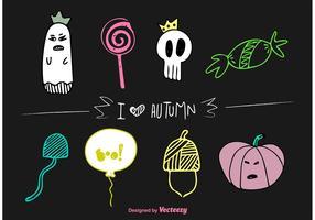Autumn Halloween Vector Doodles
