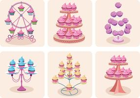 Girly Cupcake Stand Vectors