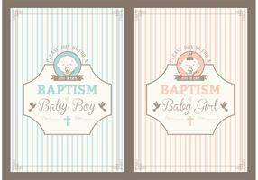 Free Retro Christening Invitation Vector Cards