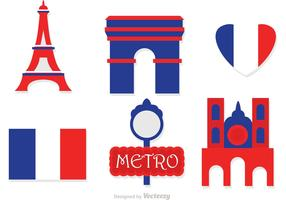 Paris Flat Icons Vector