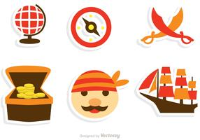 Collection Of Pirate Icons Vector