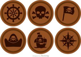 Brown Circle Pirate Icons Vector