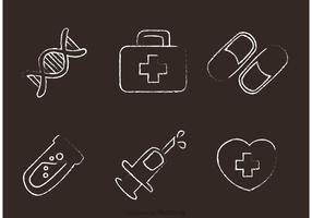 Chalk Drawn Medical Icons Vector