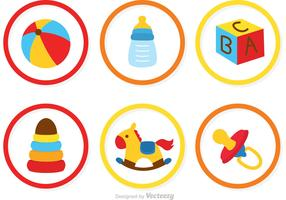 Collection Of Baby Toys Icons Vector