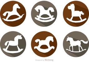 Rocking Horse Long Shadow Icons Vectors